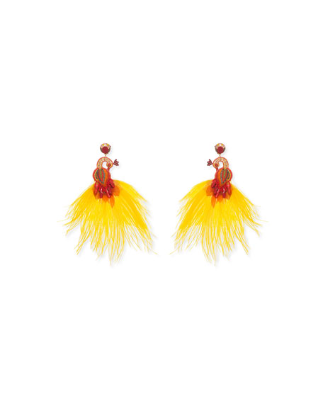 Passerine-Y Feather Drop Earrings