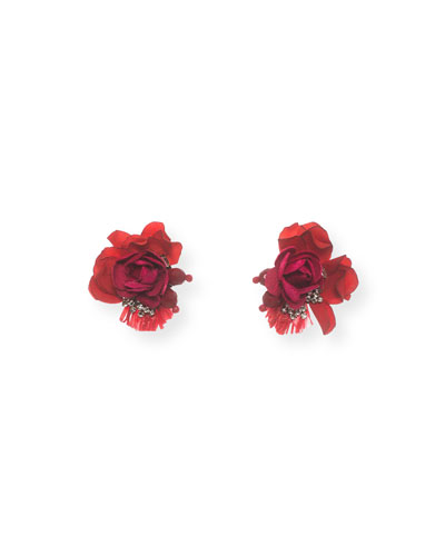 Scarlet Rose Stud Earrings