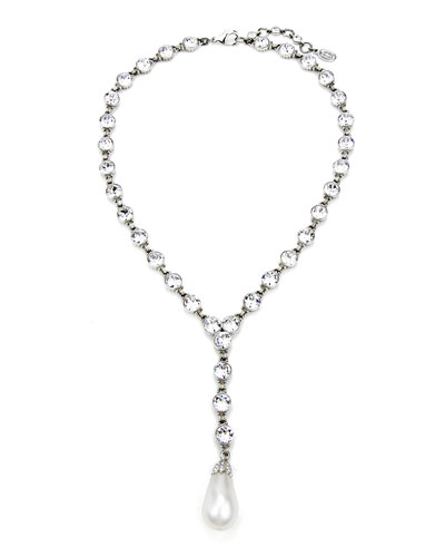 Crystal & Pearly Y-Drop Necklace