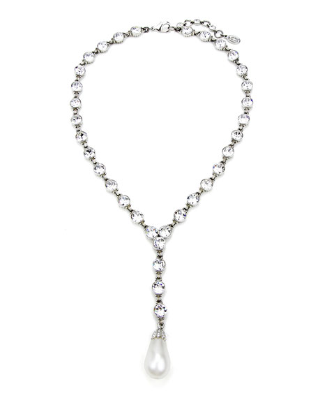 Ben-Amun Crystal & Pearly Y-Drop Necklace