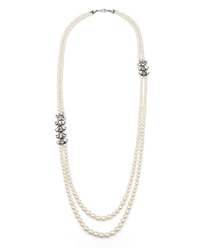 Two-Row Pearly Beaded Necklace