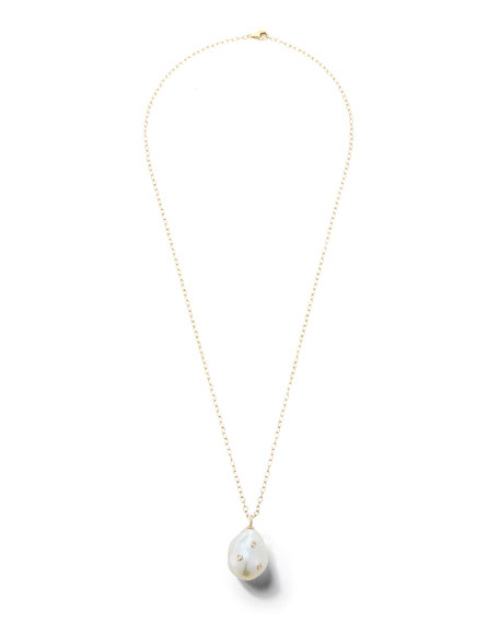 14k Baroque Pearl & Diamond Pendant Necklace