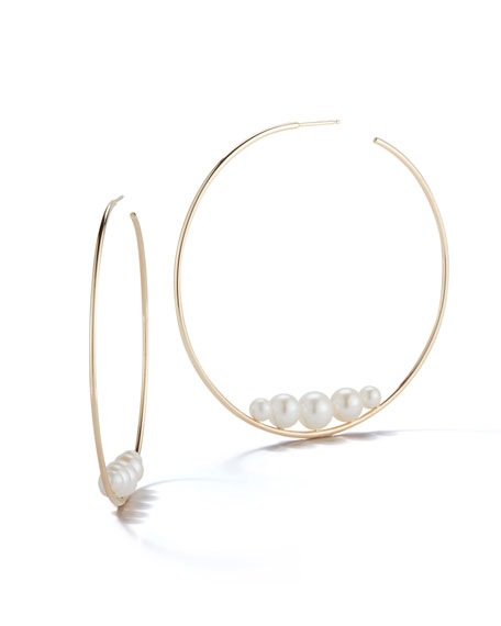 14k Floating Five-Pearl Hoop Earrings