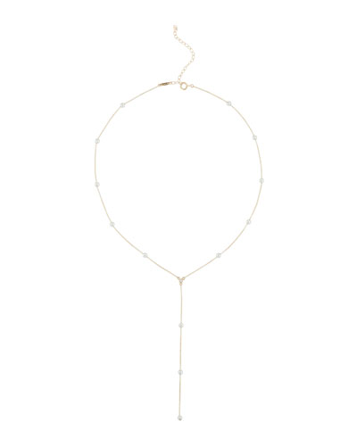 14k Pearl & Diamond Y-Drop Necklace