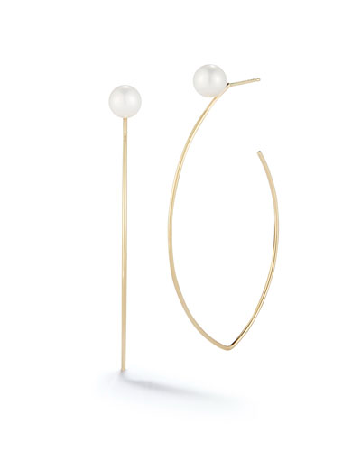 14k Pearl Marquise Hoop Earrings