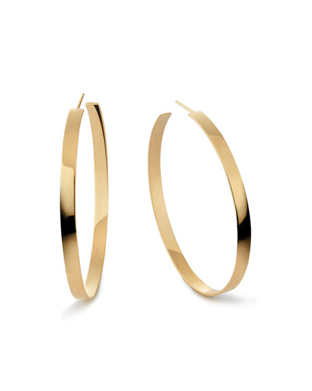14k Flat Hoop Earrings, 2""