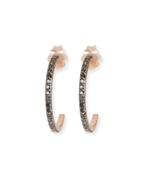 Reckless 14k Tiny Black Diamond Hoop Earrings