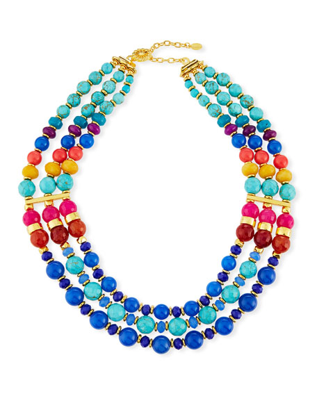 Triple-Strand Beaded Necklace