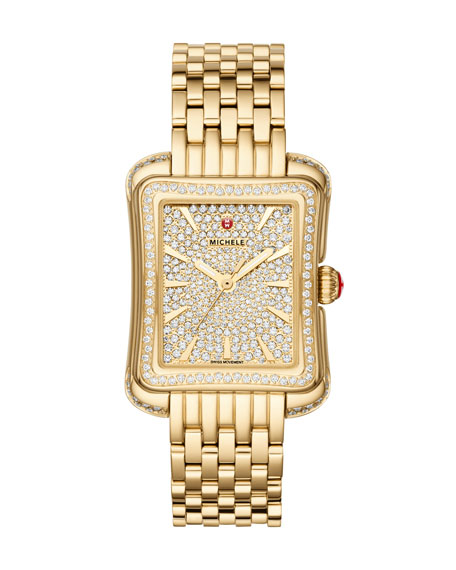 MICHELE 16mm Deco Moderne Diamond Pavé Watch