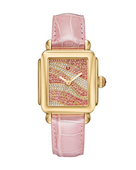 Deco 18 Sapphire & Diamond Watch with Pink Alligator Strap