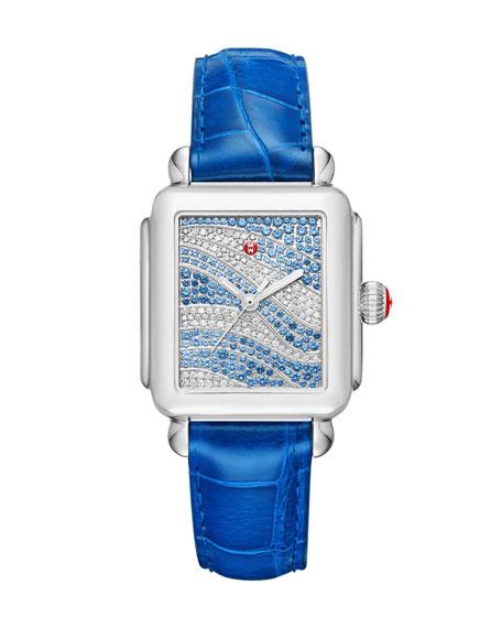MICHELE Deco 18 Sapphire & Diamond Watch with
