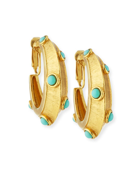 Jose & Maria Barrera Turquoise Clip-On Hoop Earrings