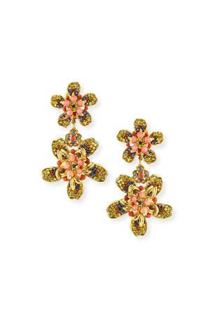 Jose & Maria Barrera Double Flower Drop Earrings