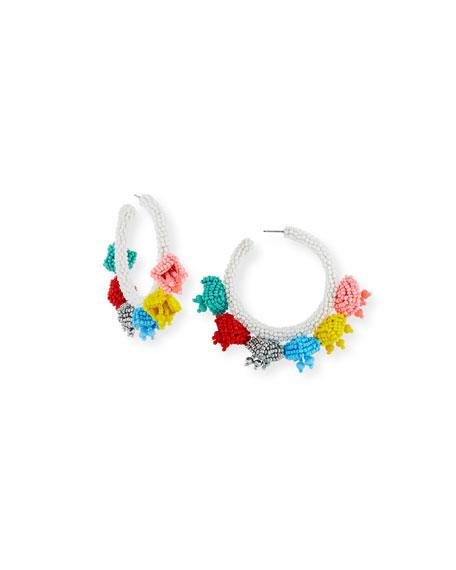 Grape Beaded Hoop Earrings