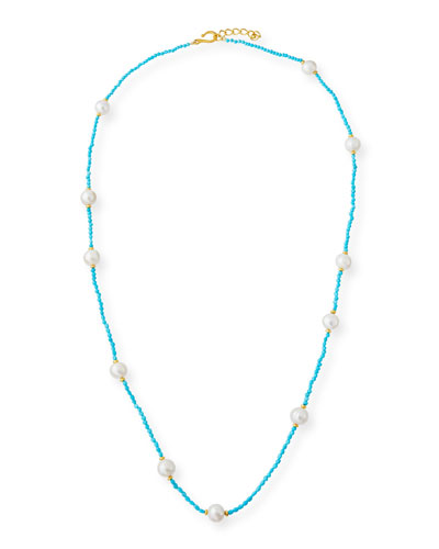 Long Sleeping Beauty Turquoise & Pearl Necklace, 36