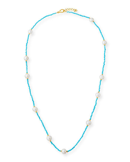 Long Sleeping Beauty Turquoise & Pearl Necklace, 36""