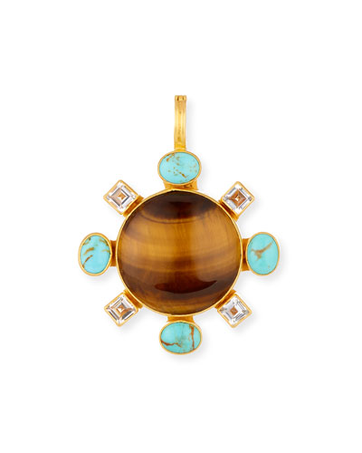 Tiger's Eye Pendant with Turquoise & Topaz