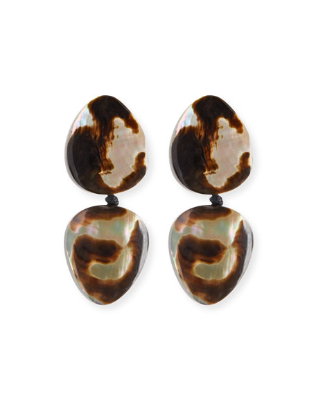 Double Drop Clip-On Earrings, Leopard