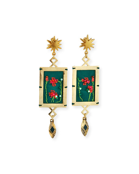 Lulu Frost Villa Hand-Embroidered Dangle Earrings