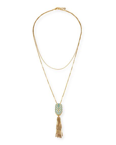 Lulu Frost Hibiscus Tassel Pendant Necklace