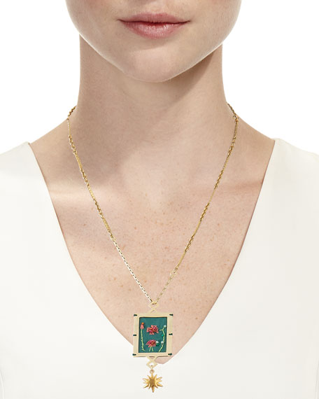 Lulu Frost Villa Hand-Embroidered Pendant Necklace pN83w