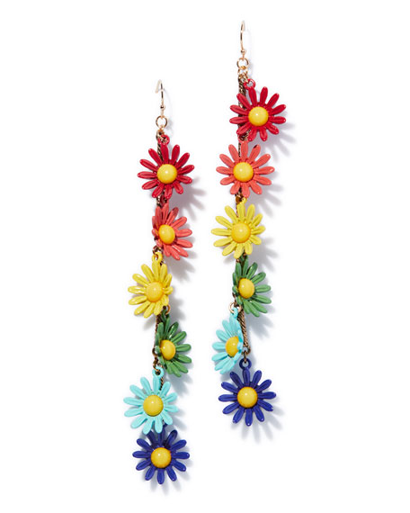 Moorea Multicolor Daisy Drop Earrings