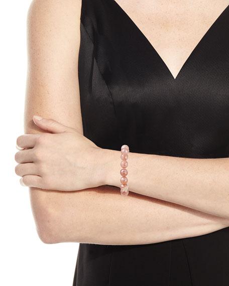 Mauve Moonstone Bead Bracelet w/ 14k XO Charm