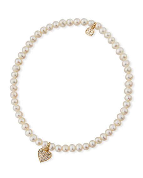 14k Pearl & Diamond Heart Bracelet