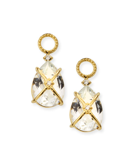 18k Lisse Tiny Criss Cross Earring Charms, White Topaz