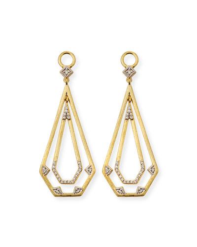 18k Lisse Elongated Pentagon Drop Earring Charms