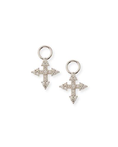 18k Provence Tiny Cross Diamond Earring Charms