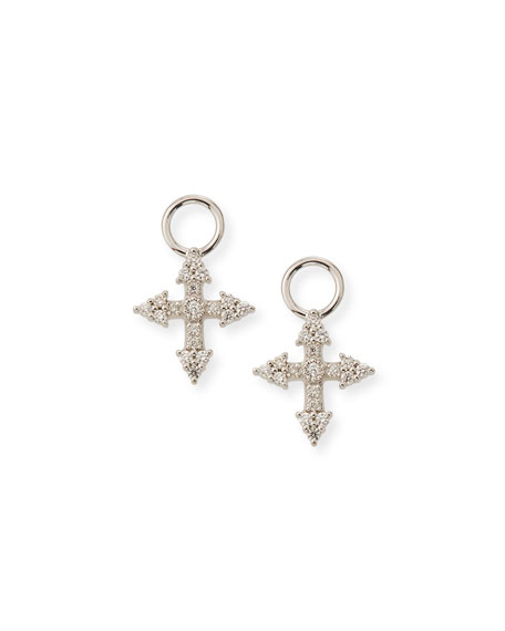 Jude Frances 18k Provence Tiny Cross Diamond Earring
