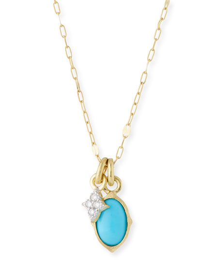 18k Moroccan Tiny Double Pendant Necklace with Turquoise & Diamond