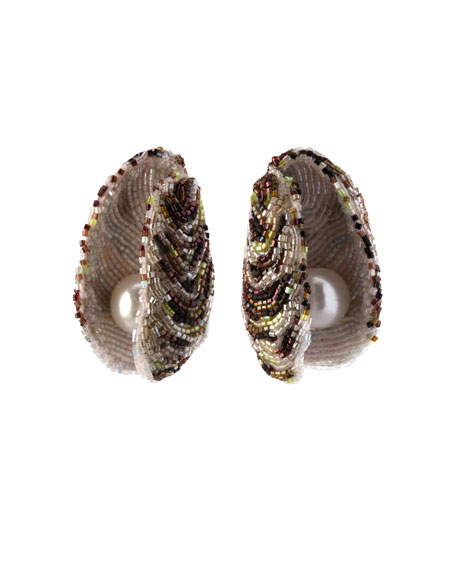Beaded Oyster Statement Earrings