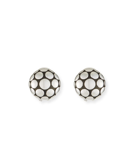 Dot Sterling Silver Large Round Stud Earrings