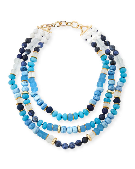 AKOLA Triple-Strand Blue Beaded Necklace