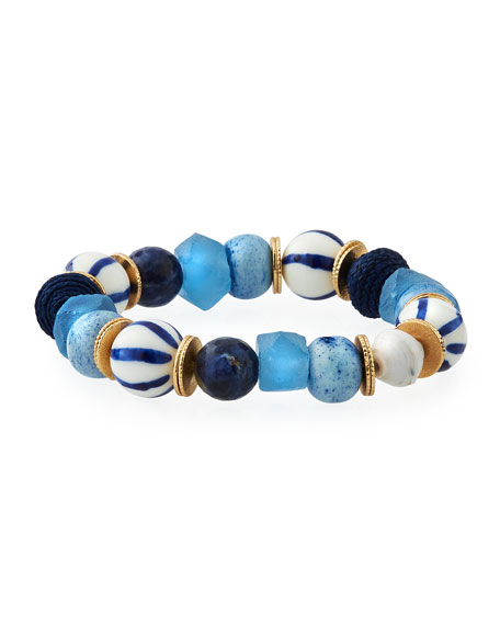 Akola Mixed Blue & Striped Stretch Bracelet
