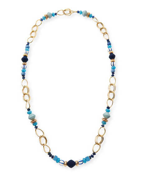 Akola Long Mixed Bead & Chain Station Necklace