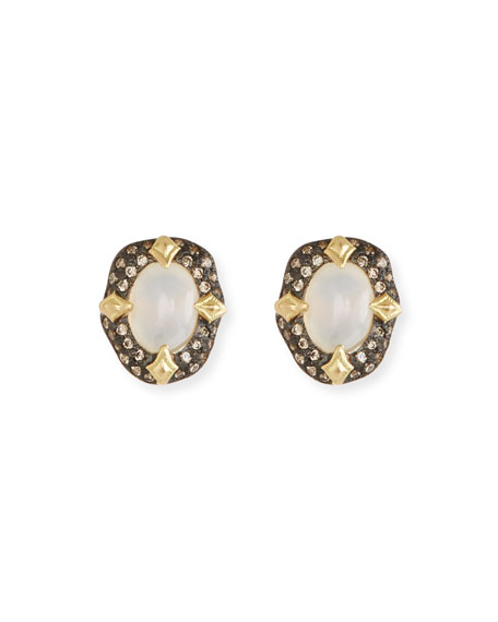 Armenta Old World Stone Stud Earrings, White Aquaprase