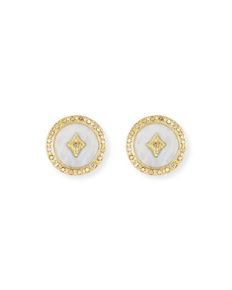 Old World 18k Enamel Diamond Star Stud Earrings