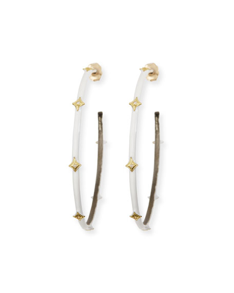 Armenta Old World White Enamel Crivelli Hoop Earrings