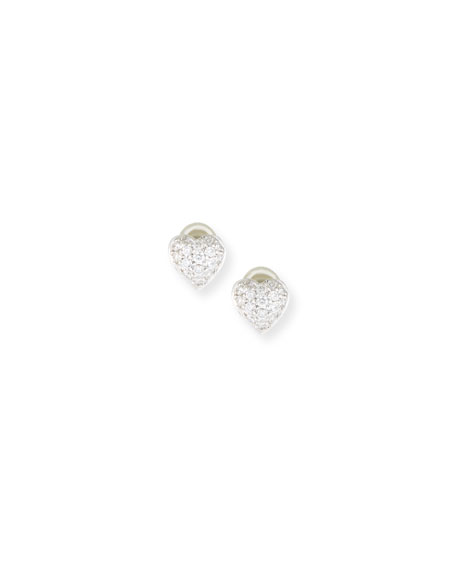 18k Diamond Heart Stud Earrings