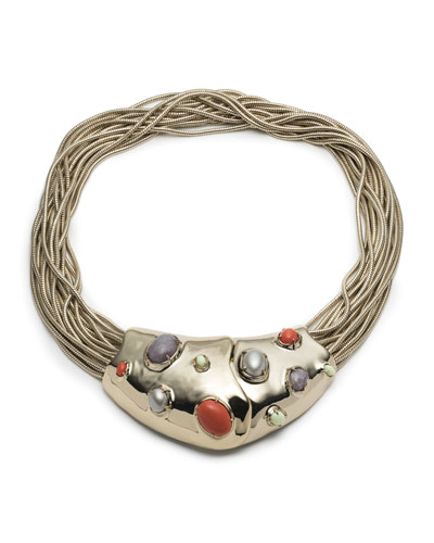 Sculptural Stone Cluster Snake Chain Bib Necklace