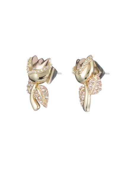 Crystal Encrusted Tulip Post Earrings