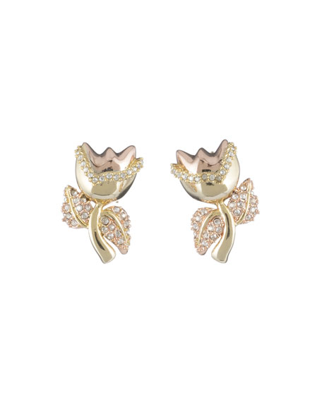 Alexis Bittar Crystal Encrusted Tulip Post Earrings