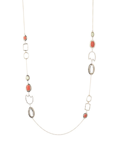 Crystal Encrusted Abstract Tulip Stone Station Necklace