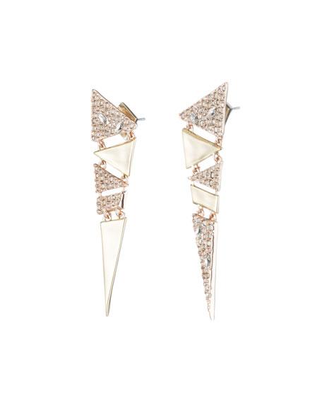 Crystal Encrusted Triangle Drop Earrings