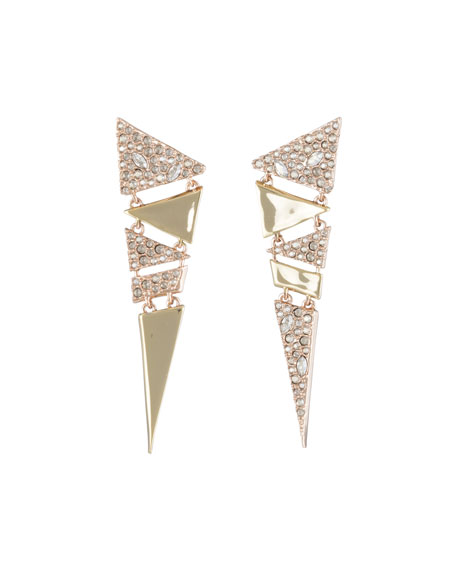 Alexis Bittar Crystal Encrusted Triangle Drop Earrings