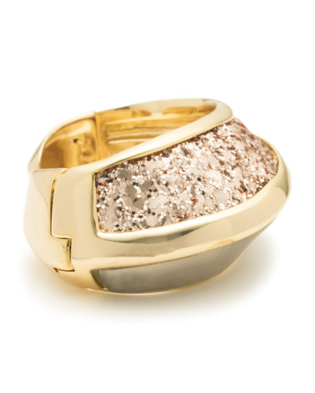Asymmetrical Glitter Inlay Hinge Bracelet