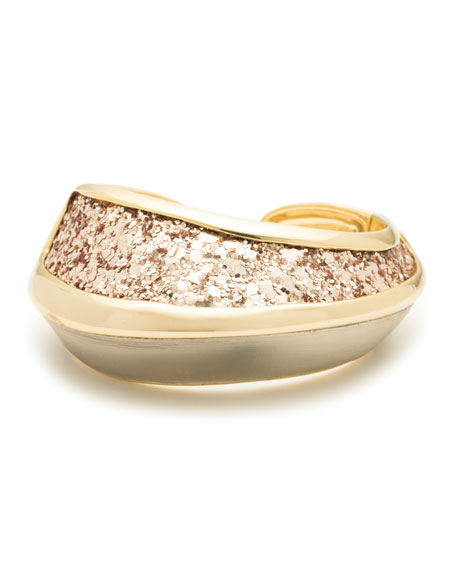 Alexis Bittar Asymmetrical Glitter Inlay Hinge Bracelet